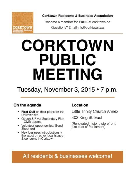 Corktown Meeting Poster - Nov 2015