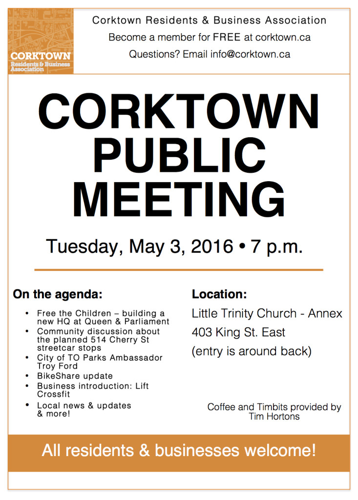 Agenda for Corktown Monthly Public Meeting May 2016 everyone welcome