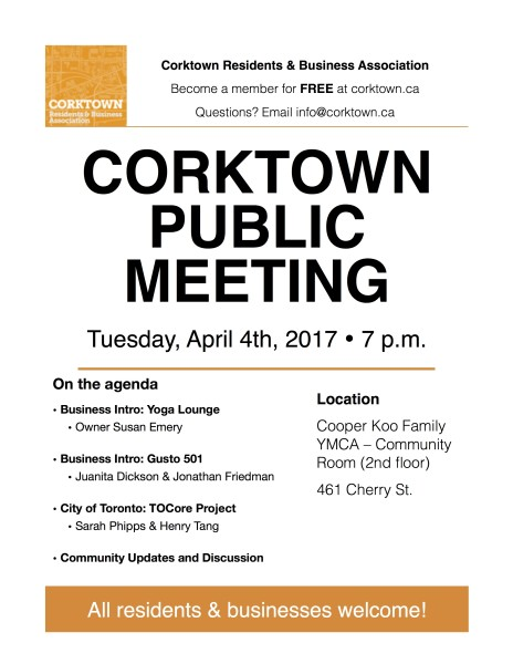 Corktown Meeting Poster - April 2017