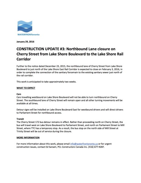 CONSTRUCTION NOTICE 3 - Northbound Lane closure on Cherry Street from Lake Shore Boulevard to the Lake Shore Rail Corridor