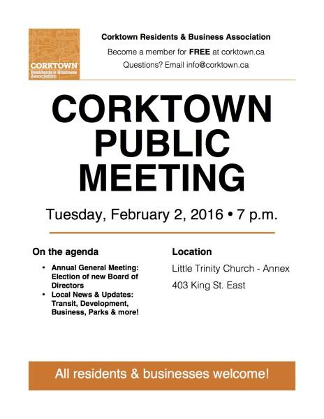 Corktown Meeting Poster - Feb 2016