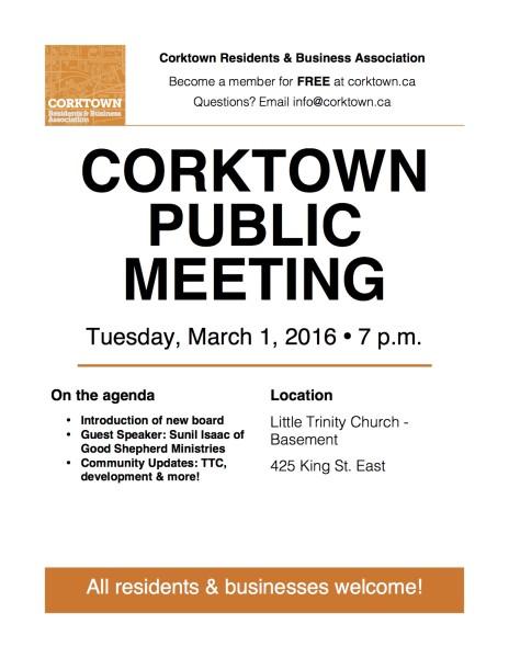 Corktown Meeting Poster - March 2016