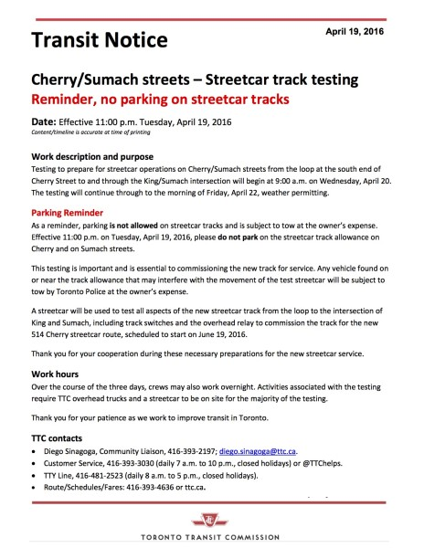 Streetcar track testing on Cherry-Sumach streets - starting April 20