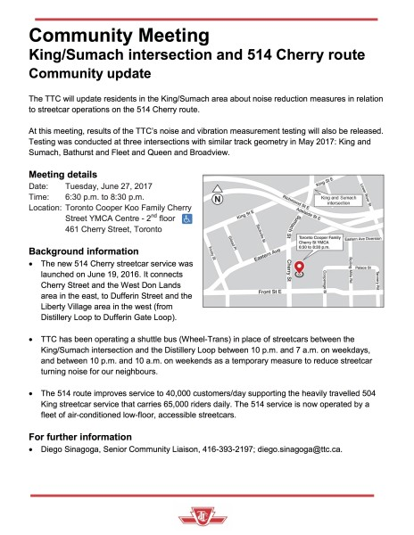Meeting Notice - King and Sumach - June 2017