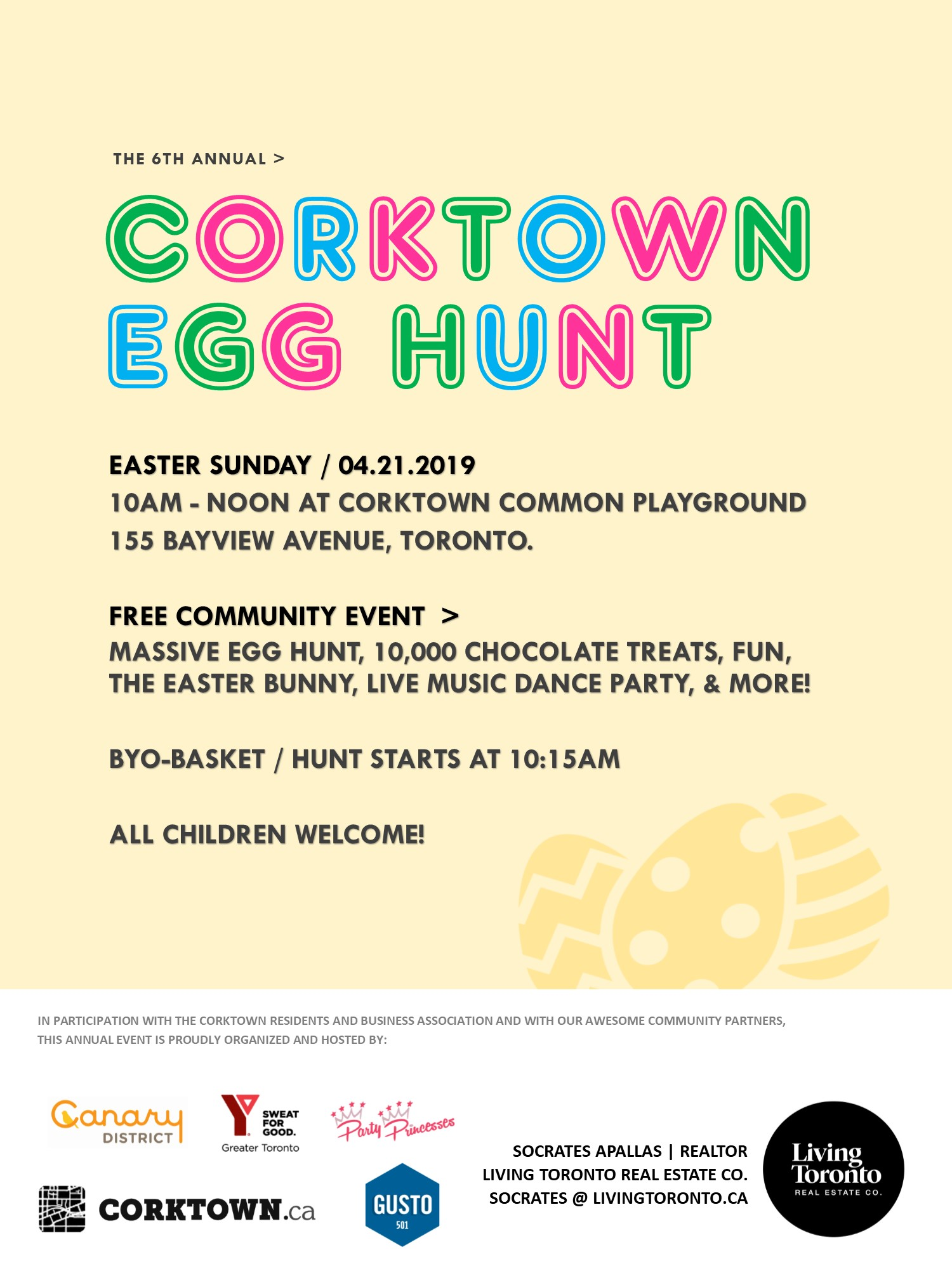 Calling all Corktowners and Torontonians! Our 6th Annual Corktown Egg Hunt takes place April 21st, 2019. Join us at Corktown Common from 10am-12pm.